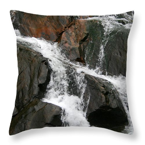 Water Waterfall Rush Rushing Cold River Creek Stream Rock Stone Wave White Wet Throw Pillow featuring the photograph Might by Andrei Shliakhau