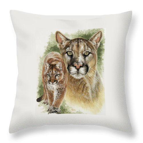 Cougar Throw Pillow featuring the mixed media Mighty by Barbara Keith