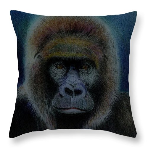 Gorilla Throw Pillow featuring the drawing Mighty Gorilla by Arline Wagner