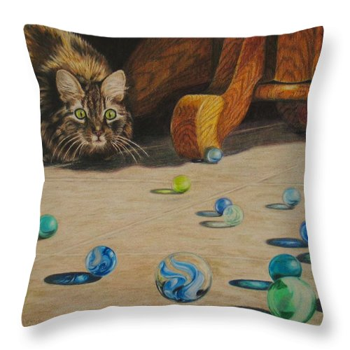Cats Throw Pillow featuring the drawing Mighty Hunter by Karen Ilari