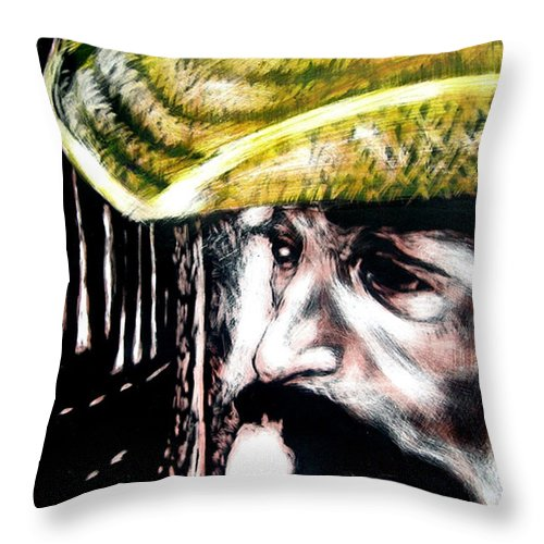 Throw Pillow featuring the mixed media Miguel by Chester Elmore