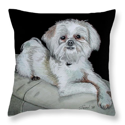 Dog Throw Pillow featuring the painting Miki Dog by Ferrel Cordle