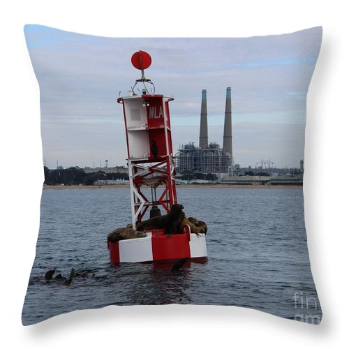 Mile Buoy Throw Pillow featuring the photograph Mile Buoy, Moss Landing by Larry Daeumler