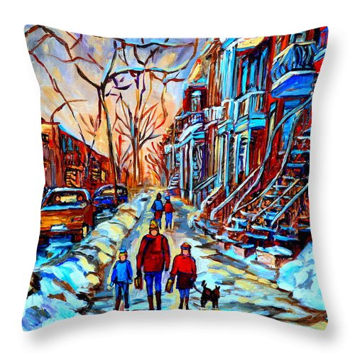 Montreal Throw Pillow featuring the painting Mile End Montreal Neighborhoods by Carole Spandau