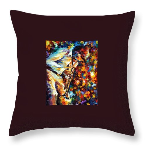 Afremov Throw Pillow featuring the painting Miles Davis - Gold Trumpet by Leonid Afremov