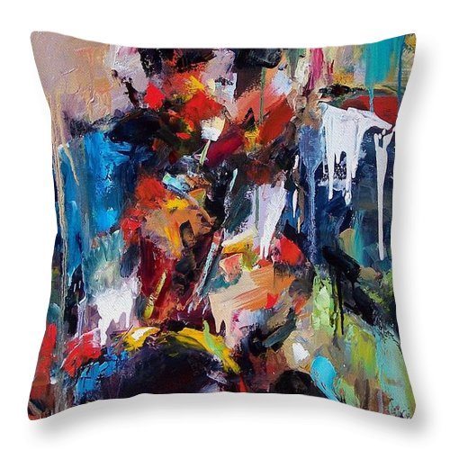 Jazz Art Throw Pillow featuring the painting Miles Davis 2 by Debra Hurd