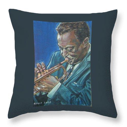 Miles Davis Throw Pillow featuring the painting Miles Davis by Bryan Bustard