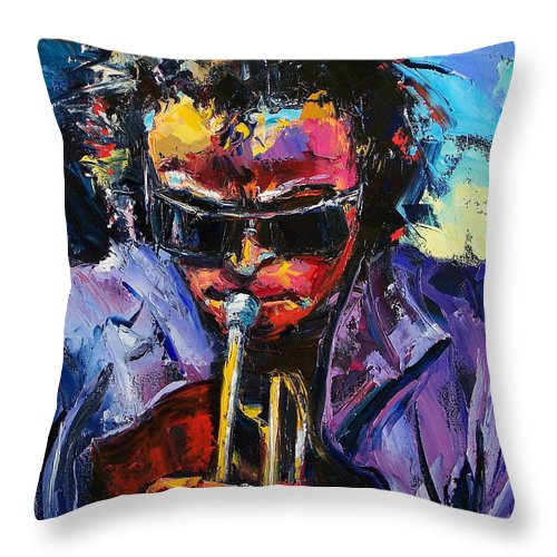 Miles Davis Throw Pillow featuring the painting Miles Davis by Debra Hurd
