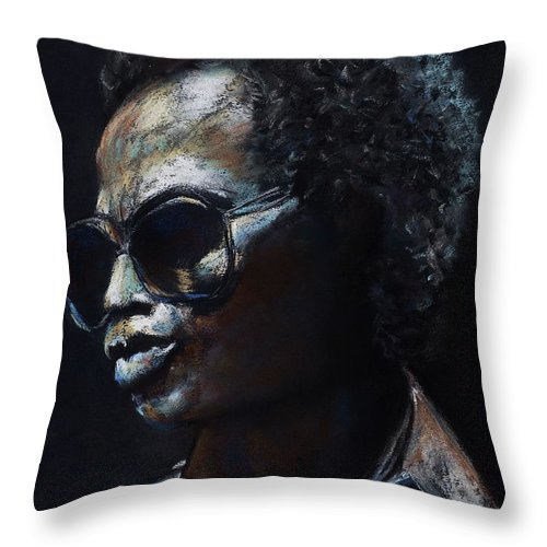 Miles Davis Throw Pillow featuring the painting Miles Davis by Frances Marino