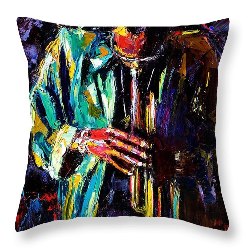 Miles Davis Throw Pillow featuring the painting Miles by Debra Hurd