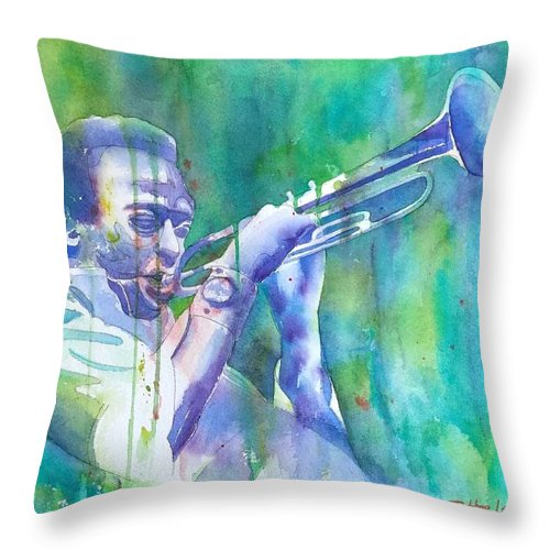 Watercolor Throw Pillow featuring the painting Miles Is Cool by Debbie Lewis