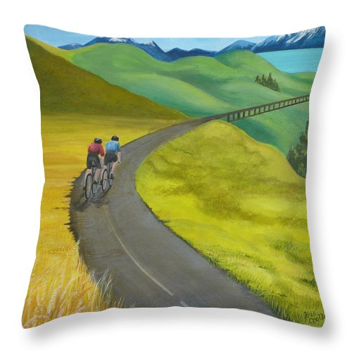 Bicycles Throw Pillow featuring the painting Miles To Go by Kris Crollard