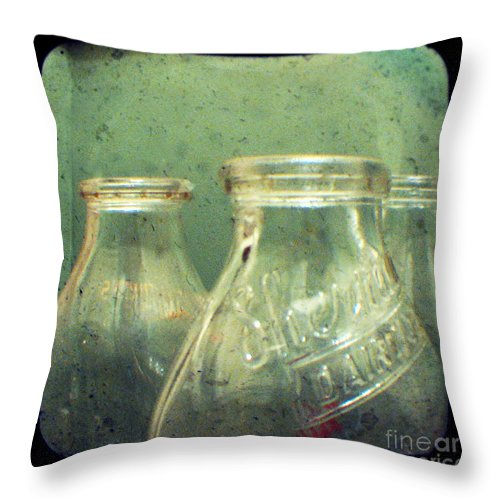 Ttv Throw Pillow featuring the photograph Milk Bottles by Dana DiPasquale
