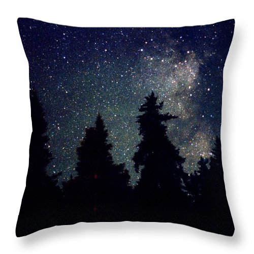 Milky Way Throw Pillow featuring the photograph Milky Way Above Northern Forest 22 by Lyle Crump