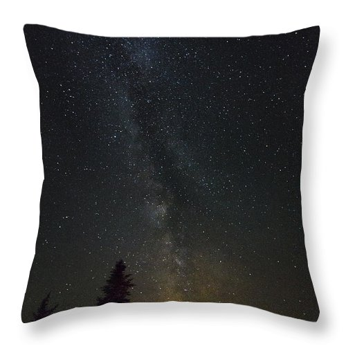 Milky Way Throw Pillow featuring the photograph Milky Way Over Bay Of Gaspe by John Meader