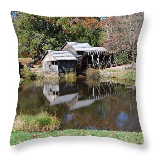 Virginia Throw Pillow featuring the photograph Mill Reflections by Eric Liller