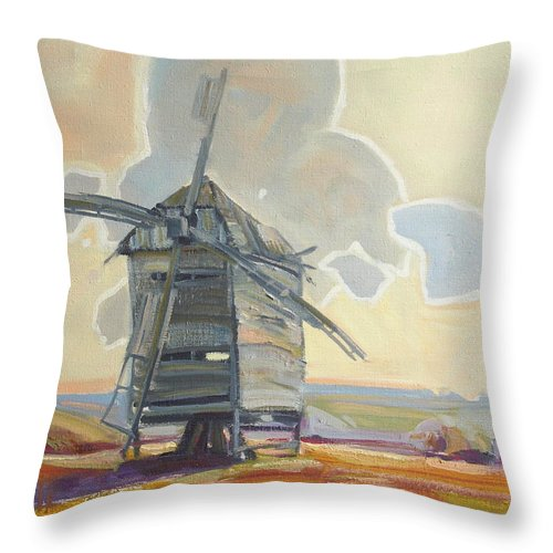 Oil Throw Pillow featuring the painting Mill by Sergey Ignatenko