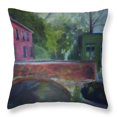 Mill Street Throw Pillow featuring the painting Mill Street Plein Aire by Sheila Mashaw