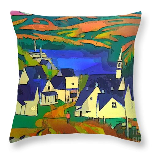 Lumber Throw Pillow featuring the painting Mill Town, Quebec by Art MacKay