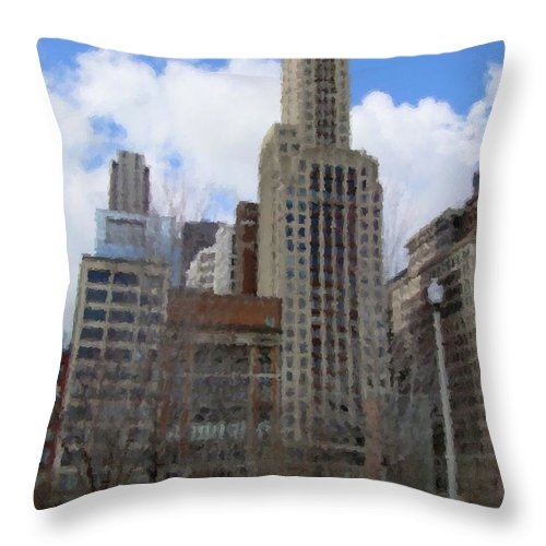 Chicago Throw Pillow featuring the digital art Millenium Park And Bench 2 by Anita Burgermeister