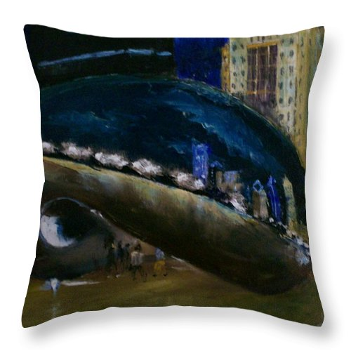 Cityscape Throw Pillow featuring the painting Millennium Park - Chicago by Stephen King