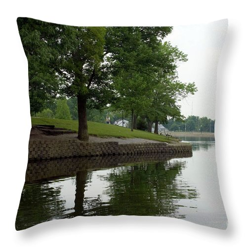 Backgrounds Throw Pillow featuring the photograph Miller Park Lake by Alan Look