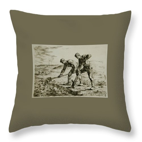 Les Bêcheurs Throw Pillow featuring the painting Millet by MotionAge Designs