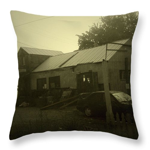 Milltown Throw Pillow featuring the photograph Milltown Merchantile by Tim Nyberg