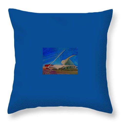 Mam Throw Pillow featuring the mixed media Milwaukee Art Museum by Anita Burgermeister