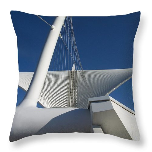 Mam Throw Pillow featuring the photograph Milwaukee Art Museum Cropped by Anita Burgermeister