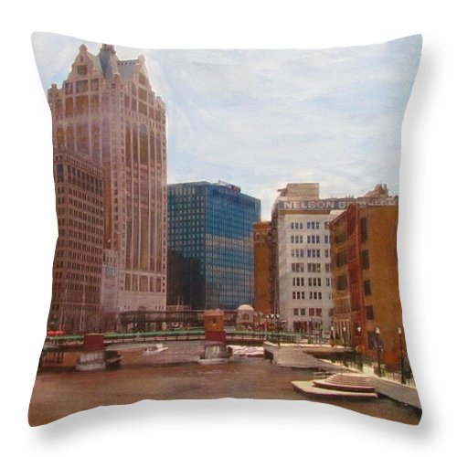Milwaukee Throw Pillow featuring the mixed media Milwaukee River View by Anita Burgermeister