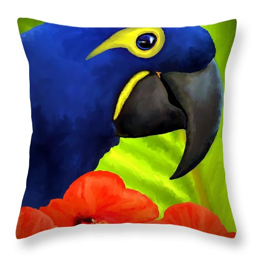 Hyacinth Macaw Throw Pillow featuring the painting Mimi by David Wagner