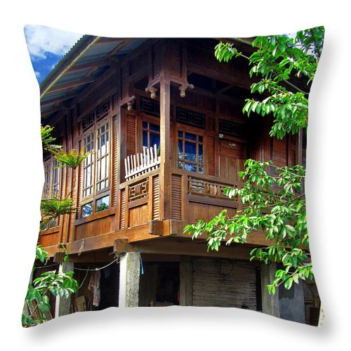 Architecture Throw Pillow featuring the photograph Minahasa Traditional Home 2 by Mark Sellers