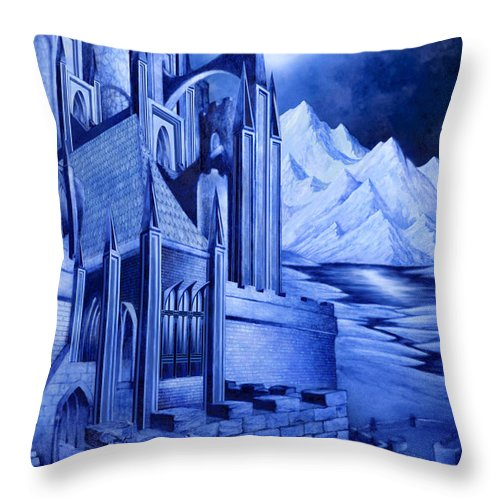 Lord Of The Rings Throw Pillow featuring the mixed media Minas Tirith by Curtiss Shaffer