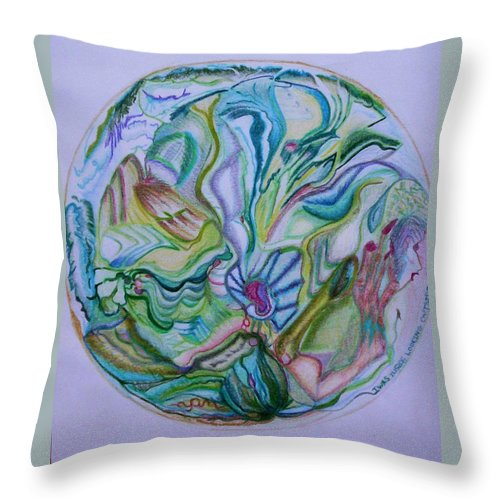 Abstract Throw Pillow featuring the drawing Mind Mandala by Suzanne Udell Levinger