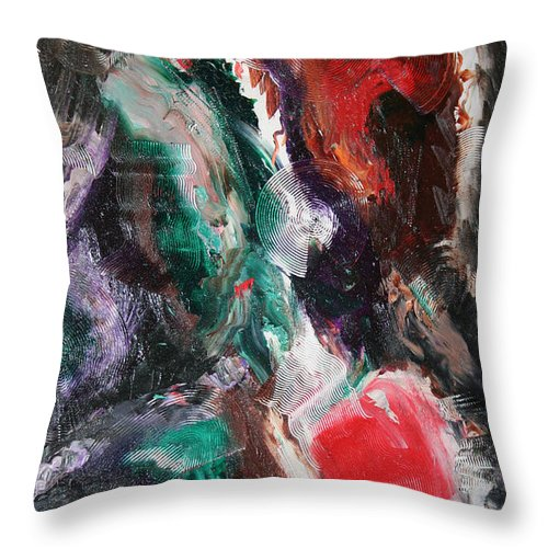 Abstract Throw Pillow featuring the painting Minds Design by Toni Daniel