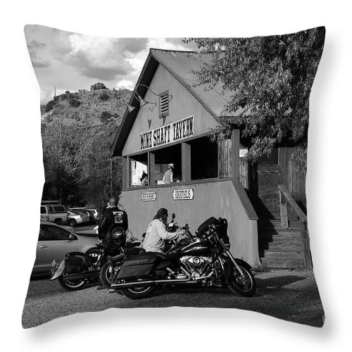 Bikers Throw Pillow featuring the photograph Mine Shaft Bikers by Madeline Ellis