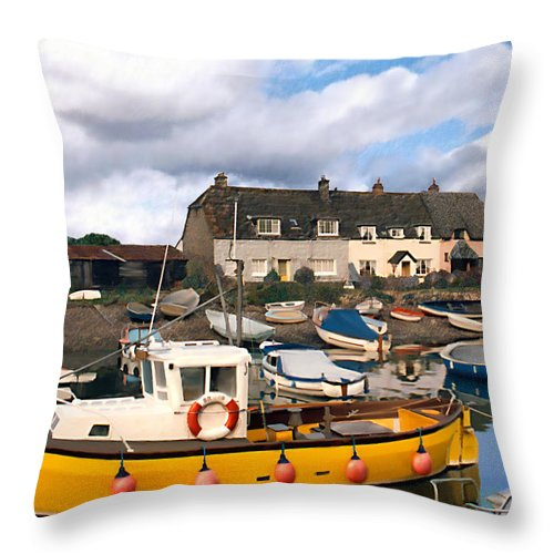 Harbor Throw Pillow featuring the photograph Minehead Sommerset by Kurt Van Wagner