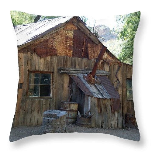Cabin Throw Pillow featuring the photograph Miners Cabin. by Robert Rodda