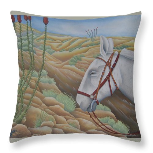Burro Throw Pillow featuring the painting Miner's Companion by Jeniffer Stapher-Thomas