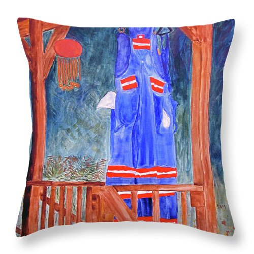 Miner Throw Pillow featuring the painting Miner's Overalls by Sandy McIntire