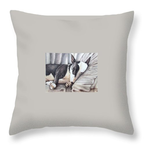 Dog Throw Pillow featuring the drawing Mini Bulldog Terrier by Nicole Zeug