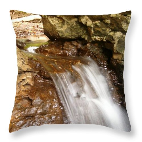 Water Throw Pillow featuring the photograph Mini Falls by Sara Raber