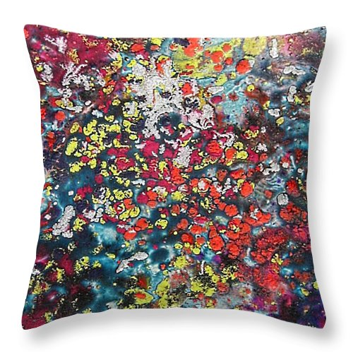 Mini Roses Throw Pillow featuring the painting Mini Roses by Dragica Micki Fortuna