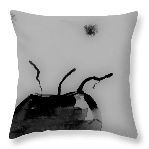 Black And White Art Throw Pillow featuring the mixed media Minimal Art by Britta Zehm