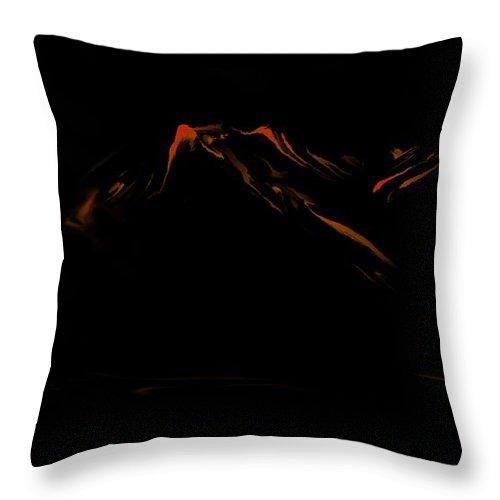 Digital Art Throw Pillow featuring the digital art Minimal Landscape Orange by David Lane