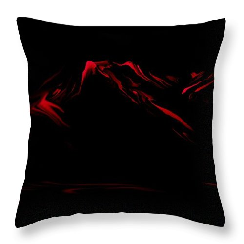 Digital Art Throw Pillow featuring the digital art Minimal Landscape Red by David Lane