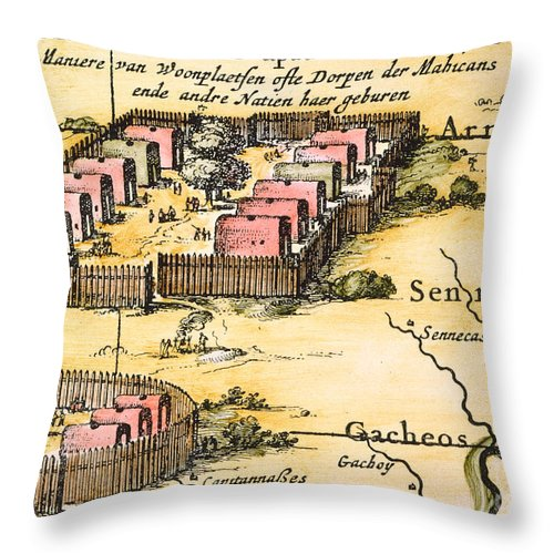 1650s Throw Pillow featuring the photograph Minisink Village, 1650s by Granger