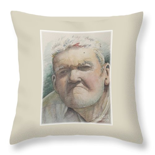 Portrait Throw Pillow featuring the painting Minnesota Farmer by Nadine Rippelmeyer
