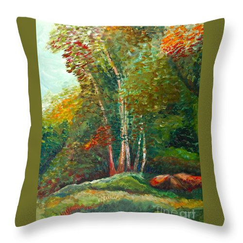 Landscape Throw Pillow featuring the painting Minnesota Quartet by Nadine Rippelmeyer